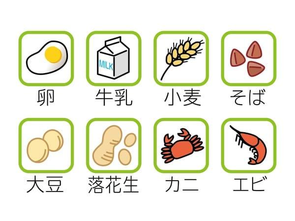 食物アレルギーをひきおこす食べ物